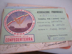 TESSERA ASSOCIAZIONE PROVINCIALE DI SAVONA 1952 - Documentos Históricos