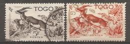 TOGO -  Yv. N° 248,250   (o)  5f,10f  Gazelles  Cote  1 Euro  BE - Usados
