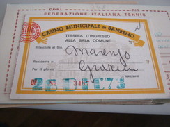 TESSERA CASINO MUNICIPALE DI SANREMO 1973 - Documents Historiques
