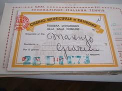 TESSERA CASINO MUNICIPALE DI SANREMO 1973 - Documenti Storici