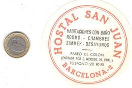 ETIQUETA DE HOTEL  -HOSTAL SAN JUAN   -BARCELONA - Hotel Labels
