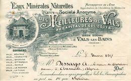 A VOIR ! FACTURES 1907 VALS LES BAINS EAU MINERALE ARDECHE SOURCE BEATRIX POUR ALGERIE AUMALE THEMES CARTES POSTALES - 1900 – 1949