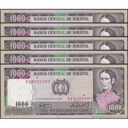 TWN - BOLIVIA 167c - 1000 1.000 Pesos Bolivianos 25.6.1982 DEALERS LOT X 5 - Serie D1 UNC - Bolivia
