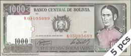 TWN - BOLIVIA 167c - 1000 1.000 Pesos Bolivianos 25.6.1982 DEALERS LOT X 5 - Serie K0 UNC - Bolivia