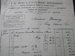 REIMS (Marne) - Facture - LA BOULANGERIE REMOISE - Fournitures Pour Boulangerie - Vers SACY (Marne) - 27 Mars 1922 - Alimentaire