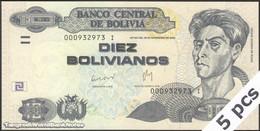 TWN - BOLIVIA 238 - 10 Bolivianos 28.11.1986 (2012) DEALERS LOT X 5 - Serie I - Printer: CBN UNC - Bolivia