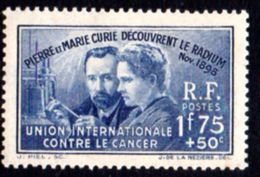 Découverte Du Radium, Pierre Et Marie Curie. N° 402 * - France