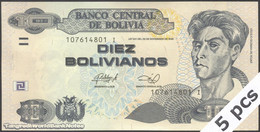 TWN - BOLIVIA 238A - 10 Bolivianos 28.11.1986 (2013) DEALERS LOT X 5 - Serie I - Printer: OT UNC - Bolivia