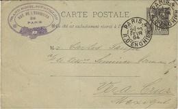 1894- C P E P 10 C Sage Oblit. PARIS-4 / R.D'ENGHIEN  Pour Vera-Cruz  ( Mexique ) - Postmark Collection (Covers)