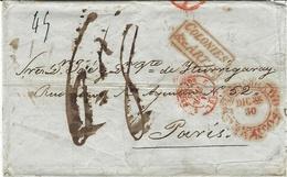 """1846- Enveloppe De MEXICO Pour Paris  """" COLONIES &c. ART. 13 """" Encadré  - Au Dos , Cad De VERA CRUZ  JA. 1 / 1846 - Postmark Collection (Covers)"""