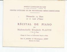 Programme 13 Mars (pas D'année) Récital De Piano Par Elisabeth PLAITIN à L'Institut Catholique De Paris - Programmes