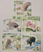 MNH Philippines 2001 - Nature Conservation, Hongkong Exhibition, Eagle, Orchid, Turtle, Tamaraw, Tarsier SSx5 - Tortugas