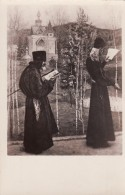 Russian Orthodox(?) Religious Men Read Books, Monastery Or Church In Background, C1910s Vintage Postcard - Christianity