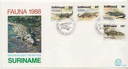 Suriname Crocodiles Set On FDC - Rettili & Anfibi