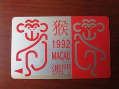 GPT Phonecard,5MACA Chinese New Year Of Monkey, Set Of 1,used(frontside Tiny Yellowed On Bottom) - Macau
