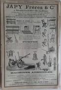 PUB 1890 - Pompe Machine Agricole JAPY à Beaucourt 68 Ht Rhin, PIPPERMINT Par GET Frères à Revel 31 Hte Garonne - Advertising