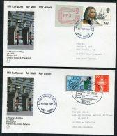 1987 GB Germany Lufthansa First Flights Cards (2) Gatwick / Frankfurt. Frama ATM - Covers & Documents
