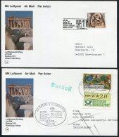 1986 Greece Germany Lufthansa First Flights Cards (2) Athens / Hamburg. Acropolis ATM Frama - Airmail