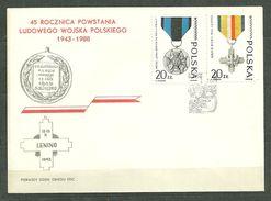 Enveloppe FDC 2971-2972 Anniversaire De L´armée Populaire Médailles Du Mérite Croix De La Bataille De Lénino - FDC
