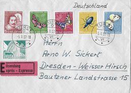 PRO JUVENTUTE → 1956 Kompl.Satz & SBK-300, Eilsendung Nach Dresden   ►TURGI 5.II.57◄ - Lettres & Documents