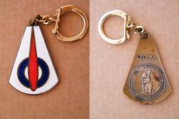 TOTAL ANCIEN LOGO De 1955-62 Emaillé EGF Bronze / Laiton Porte Cléf Keychain Vintage Pétrolier (ESSO BP SHELL) - Porte-clefs