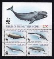 RSA, 1998, MNH Stamps In Control Blocks, MI 1177-1180, Whales WWF, X718 - Zuid-Afrika (1961-...)