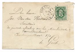 N° 30 LOKEREN  Puntstempel 222 Naar Gent     17 Jun 1872 - 1869-1883 Leopold II