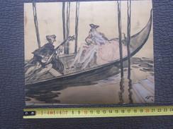 J.Gabriel Domergue Venezia VENISE ITALIA AQUARELLE Le Retour De Casanova Gondoles-Planche Publicitaire -Coll.Artistique - Pubblicitari