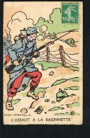 MILITARIA-Guerre 14/18-L'assaut à La Baionnette  -Dessin LEVIN LEMONIER- COURMONT  Paypal Sans Frais - Guerre 1914-18