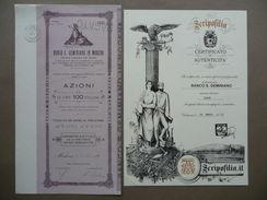 Certificato Azione Banco San Geminiano Modena Società Giugno 1931 Titolo - Non Classificati