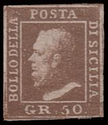 A.S.I. - Sicilia: Effige Di Ferdinando II - 50 Gr. Lacca Bruno - 1859 - Sicilia