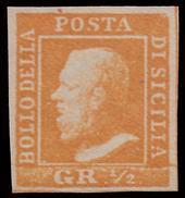 A.S.I. - Sicilia: Effige Di Ferdinando II - 1/2 Gr. Arancio - 1859 - Sicilia