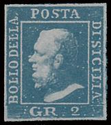 A.S.I. - Sicilia: Effige Di Ferdinando II - 2 Gr. Azzurro - 1859 - Sicilia