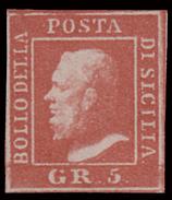 A.S.I. - Sicilia: Effige Di Ferdinando II - 5 Gr. Rosa Carminio - 1859 - Sicilia