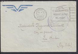 """FR - 1940  """"Ecole Radio Navigants"""" Enveloppe En F.M. De Nimes Pour Le Soler (P.O) Correspondance De Militaire - TB - - Storia Postale"""