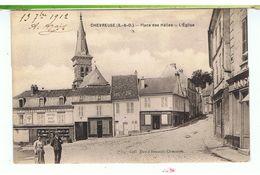 CPA-78-1912-CHEVREUSE-PLACE DES HALLES-L'EGLISE-ANIMEE-1 COUPLE-EPICERIE THOMAS-- - Chevreuse