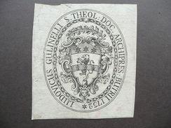 Araldica Ex Libris Gulinelli Ludovicus Archipret Butrii Budrio 1732 - Ex-libris