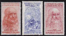 ITALIA 1952 Leonardo Da Vinci Serie Completa 3v Ottima Centratura Nuovi GI  MNH** - 6. 1946-.. Republic