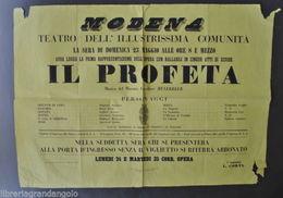 Locandina Teatro Modena Musica Lirica Il Profeta Meyerbeer Pagnoni Rossi 1858 - Vecchi Documenti
