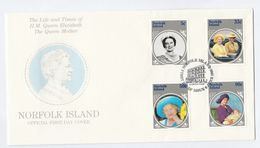 1985 NORFOLK ISLAND FDC Royalty QUEEN MOTHER Cover Stamps - Norfolk Island