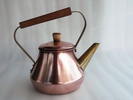 """Bouilloire En Cuivre Rouge """"Le Trèfle - Metaux Ouvrés Vesoul"""" 19 Cm H / 15 Cm Ø - Coppers"""
