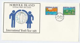 1985 NORFOLK ISLAND FDC CHILDREN DOG COW International Youth Year Stamps Cover Un United Nations Dogs - Norfolk Island