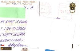 21A: Czech Red Meter Postage Imprint On Praha Prague Bridge Postcard - Czech Republic