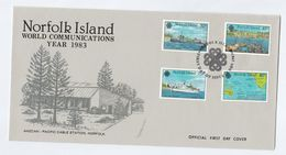 1983 NORFOLK ISLAND FDC Telecom SHIPS  Cover Stamps Ship - Norfolk Island