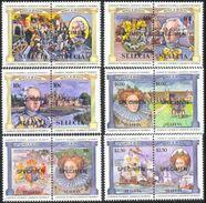 CV:€19.20 ST.LUCIA 1984 British Monarcs SPECIMEN Se-tenat PAIRS:6 (12 Stamps) [spécimen,Muster,muestra] Naval Armad - St.Lucie (1979-...)