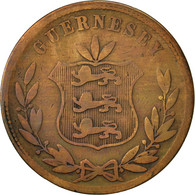 Guernsey, 8 Doubles, 1864, Heaton, Birmingham, TB, Bronze, KM:7 - Guernesey
