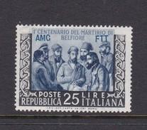 Trieste Allied Military Government S 163 1953 Centenary Of Belfiore Martyrdom, MNH - 7. Trieste