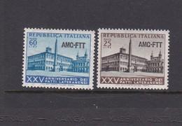 Trieste Allied Military Government S 194-195 1954 Lateran Treaty, MNH - 7. Trieste