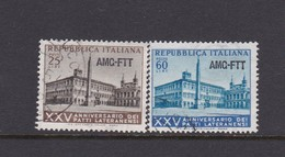 Trieste Allied Military Government S 194-195 1954 Lateran Treaty, Used - 7. Trieste