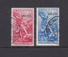Trieste Allied Military Government S 207-208  1954 International Police Congress, Rome, Used - 7. Trieste